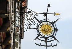 Signboard na domu w Celle, Niemcy Zdjęcie Stock