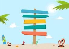 Signboard na plażowym pojęciu Editable klamerki sztuka ilustracja wektor