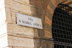 Signboard with name of the street in Verona, Italy Royalty Free Stock Photography