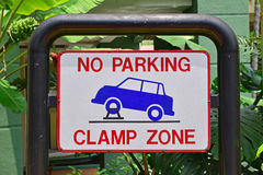 Signboard for no parking and clamp zone Stock Image