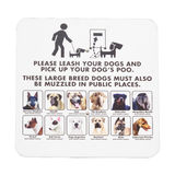 Signboard notice on walking dogs in public places Stock Images