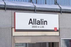Free Signboard Of Allalin Ski Station, Saas Fee, Switzerland Royalty Free Stock Photos - 106053708