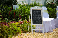 Signboard at an outdoor wedding event. Stock Image