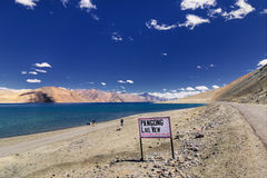 Signboard at Pangong Lake, Leh, Ladakh, Jammu and Kashmir,India Stock Images