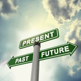 Signboard past, present and future. A sign board show the important of time Royalty Free Stock Images
