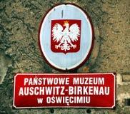 Signboard in Public Auschwitz-Birkenau museum in Oswiecim Stock Photo