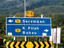 Signboard Road at Seri Menanti Kuala Pilah. Signboard to show way to seremban or Kuala Pilah and Bahau. This signboard taking infornt of Seri Menanti Junction Royalty Free Stock Images