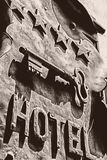 Signboard rocznika hotel Obraz Stock