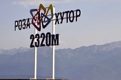 Signboard of Rosa Khutor 2320 m. stock photo