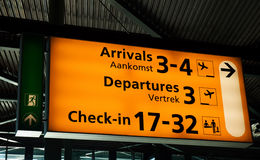 Signboard, Schiphol Airport. Arrivals, Departures, Check-in: signboard at Schiphol airport, Amsterdam Stock Photo