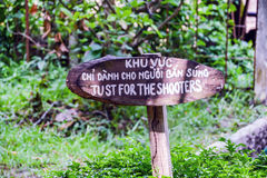 Signboard for shooting range at Cu Chi Tunnels Royalty Free Stock Photos