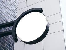 Signboard shop Mock up Circle shape Business Store logo. Signboard shop Mock up Circle shape Business Store Name logo Signage Stock Photos