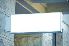 Signboard shop or restaurant. Mock up. Rectangular shape. stock images