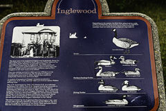 Signboard showing several species of waterfowl living on the Bow River water. Near Calgary stock images
