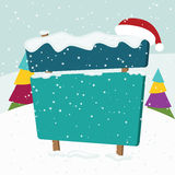 Signboard in  the snow. Christmas landscape. Vector illustration Royalty Free Stock Images