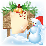 Signboard and Snowman Royalty Free Stock Photos