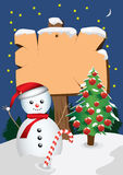Signboard snowman Royalty Free Stock Photos