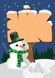 Signboard and snowman Royalty Free Stock Image