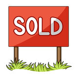Signboard-sold.Realtor single icon in cartoon style vector symbol stock illustration web. Stock Image