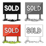 Signboard-sold.Realtor single icon in cartoon style vector symbol stock illustration web. Stock Images