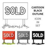 Signboard-sold.Realtor single icon in cartoon style vector symbol stock illustration web. Royalty Free Stock Image