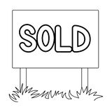 Signboard-sold.Realtor single icon in outline style vector symbol stock illustration web. Royalty Free Stock Photos