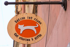Signboard souvenir shop Cat stories, Vilnius Stock Photos