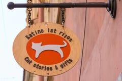 Signboard souvenir shop Cat stories, Vilnius stock photos