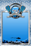 Signboard for Spearfishing. Vertical signboard with metal frame, landscape of the sea abyss, blue and white waves, spearfishing metal symbol. Template for Royalty Free Stock Images