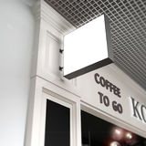 Signboard squard mock up onblurred cafe Royalty Free Stock Image