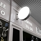 Signboard squard mock up onblurred cafe Royalty Free Stock Photography