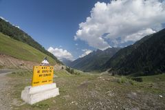 A signboard on Srinagar Leh Highway near Sonamarg. Kashmir  India Stock Images