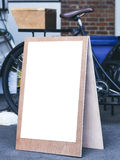 Signboard stand Mock up Poster Frame Flea market shop front Stock Photography