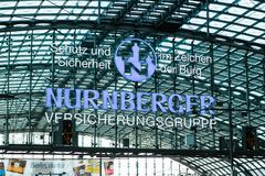 Berlin, October 03, 2017: Signboard of the station Bahnhof Nurberger. Transportation by rail. Signboard of the station Bahnhof Nurberger. Transportation by rail Stock Images