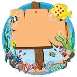 Signboard submarine. Bubble and fish Royalty Free Stock Photos