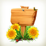 Signboard with sunflowers, ladybug and butterfly Royalty Free Stock Photos