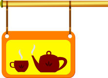 Signboard_with_teapot. The signboard with teapot and cup of tea. Bar or restaurant theme Stock Photography