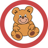 Signboard with teddy bear Stock Photography