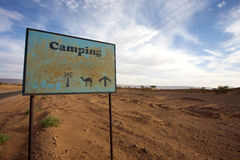 Signboard to Campsite Royalty Free Stock Images