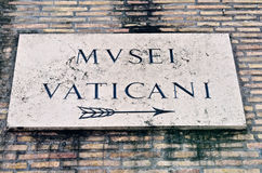 Signboard of Vatican Museum Stock Photos
