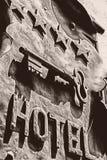 Signboard vintage hotel stock image