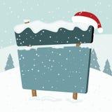 Signboard w śniegu. Boże Narodzenie krajobraz. Zdjęcia Stock