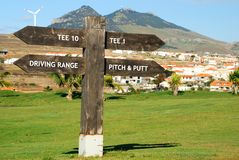 Signboard w Porto Santo polu golfowym Porto Santo wyspa, madera Portugalia Zdjęcia Stock