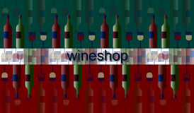 Signboard of wine and glasses and bottles. Poster label signboard of wine and glasses and bottles Stock Image