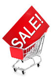 Signboard with the word sale in a shopping cart Stock Photo