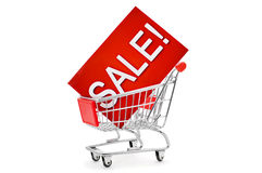 Signboard with the word sale in a shopping cart Stock Images