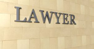 Signboard of the word silver metallic lawyer on a white ceramic interior wall. 3D Rendering vector illustration