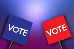 Signboard with the word Vote on paper Blue and Red Stock Photo