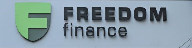 Signboard z pisać «wolność finanse « fotografia royalty free