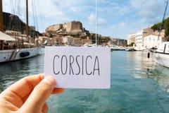 Signboard z słowem Corsica w Bonifacio, Corsica obraz stock